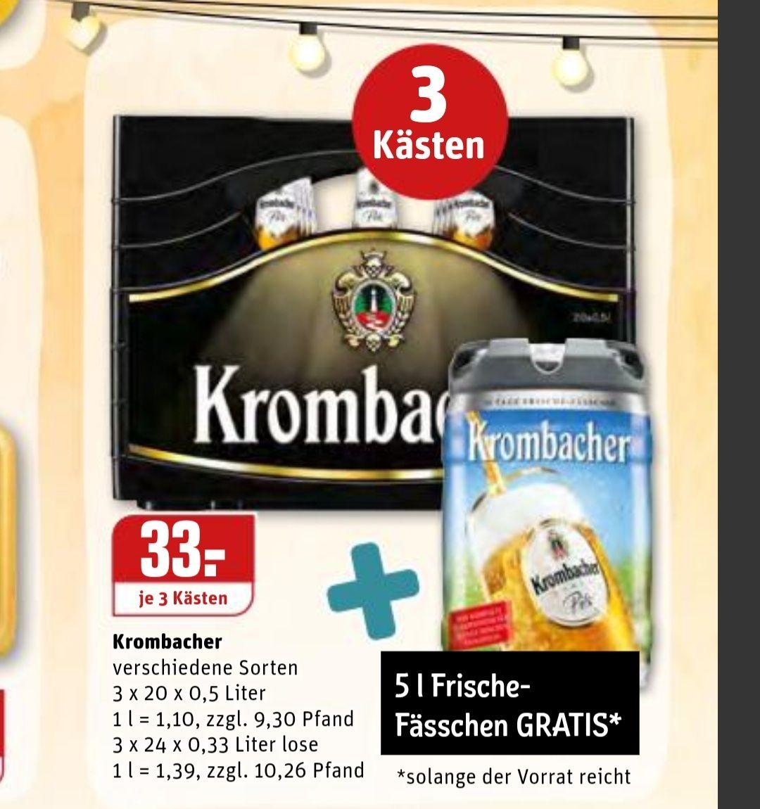 3 Kästen Krombacher + 5l Frische Fässchen