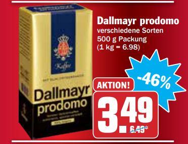 [HIT-Deutschlandweit] Dallmayr Prodomo 500gr , verschiede Sorten