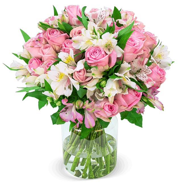 """33 Stiele """"Sweet Surprise"""" mit 120 Blüten - Rosen & Inkalilien, 50cm Länge"""