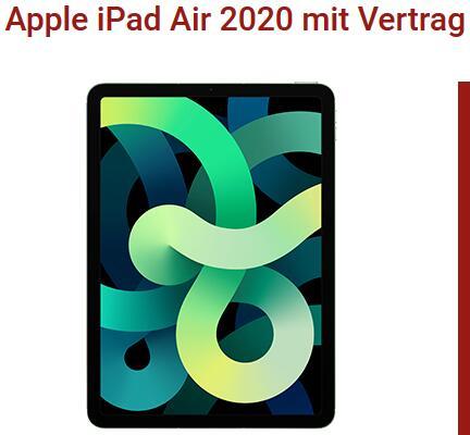 Apple iPad Air 2020 64GB Wifi + Cellular für 1€ einmalig und 36,99€ monatlich im Vodafone Netz 15GB LTE, iPad 256GB für 149€ einmalig, 2xSIM