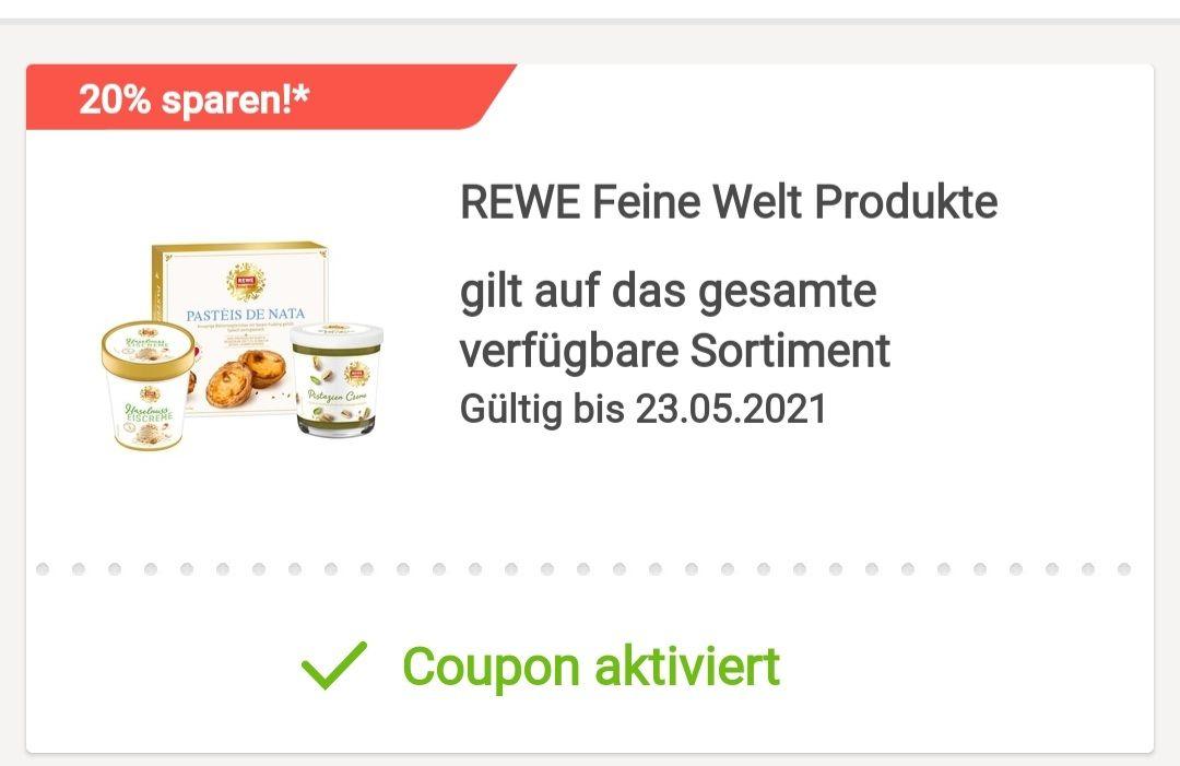 [REWE App] 20% auf Rewe Feine Welt Produkte in der App (ohne Registrierung nutzbar) mit Payback kombinierbar