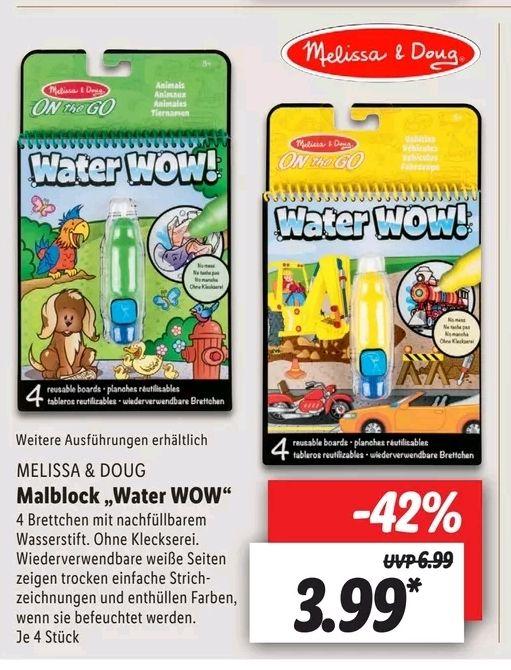 Melissa & Doug Water Wow Malblock Enthüllung mit Wasser versch. Ausführungen, Lidl ab 27.05.21