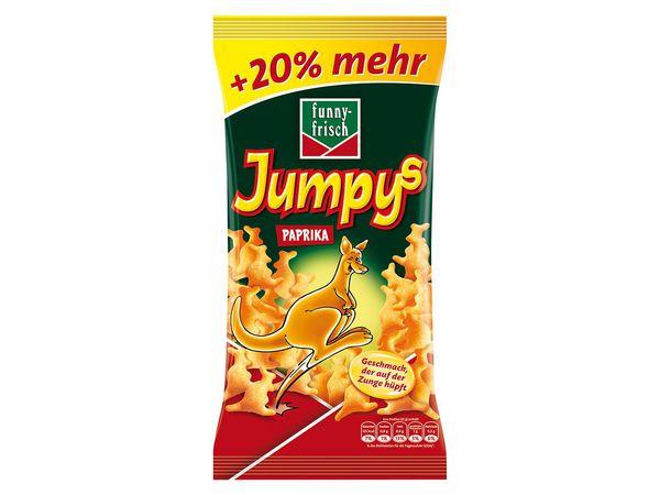 Penny: Funny Frisch Paprika Jumpys mit 20% gratis, je Tüte 90 Gramm Inhalt, 100 Gramm kosten damit 99 Cent