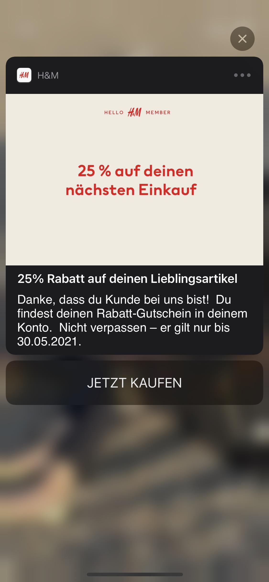 H&M -25% Rabatt! [vllt Personalisiert]