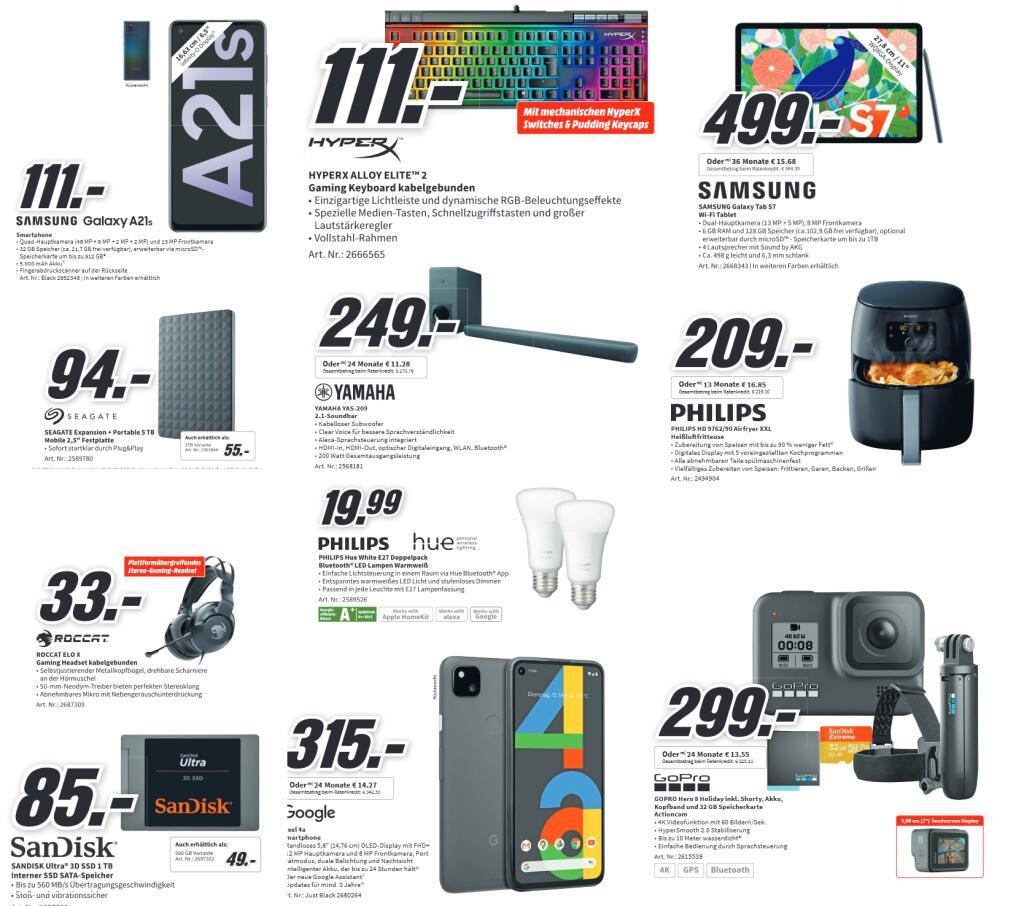 """PHILPS Hue White E27 2x Bluetooth für 19,99€   SAMSUNG Galaxy A21s für 101€   YAMAHA YAS 209 für 239€   SEAGATE Expansion 5TB 2,5"""" für 90€"""