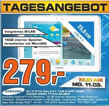 Samsung Galaxy Tab 2 10.1 Wifi 16GB + 16GB MicroSD NUR MONTAG lokal Gummersbach (ggf. National)