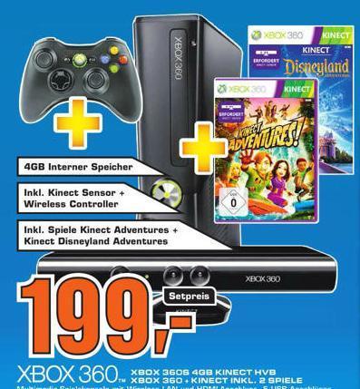 XBOX 360 + Kinect Sensor + Kinect Adventures + Kinect-Disneyland + Wireless Controller lokal plz 51643