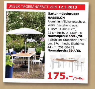 [Lokal IKEA D'Dorf] 50% 5 tlg. Gartenmöbel-Set HASSELÖN für 175.- statt 355.- nur am 12.03.