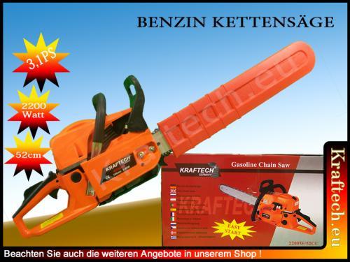 Benzin Kettensäge mit 3,1 PS und 52cm Schwert für nur 64,90 EUR inkl. Versand