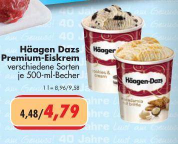 Häagen Dazs Premium-Eiskrem für 4,79 € (500 ml) bei Citti