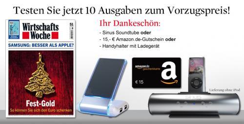 10x WirtschaftsWoche für 32,50+ 15€ Amazon.de-Gutschein+ 10,70€ Cashback von Qipu