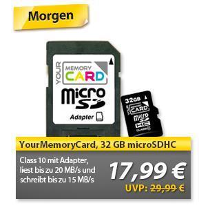HEUTE bei OHA! YourMemoryCard Micro SDHC 32GB CLASS10