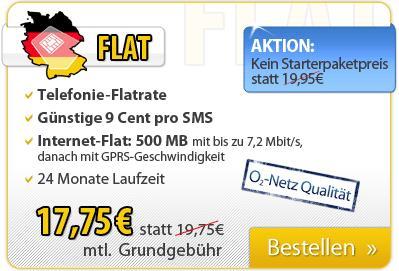 Deutschlandsim Allnet Flatrate ohne Anschlussgebühr, monatlich 17,75 €