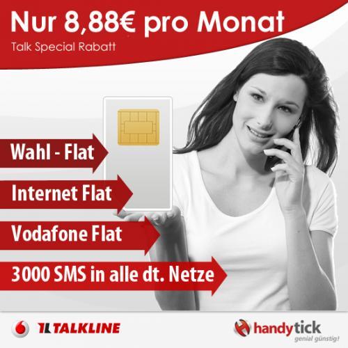 TOP TARIF! Talkline Special Rabatt nur effektive 8,88€ pro Monat* im D-Netz