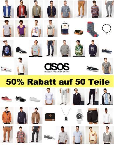 ASOS MEN: 50% Rabatt auf 50 Teile +8% qipu