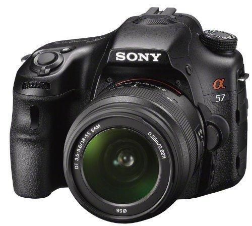 Sony SLT-A57K SLR-Digitalkamera (16 Megapixel APS HD CMOS, 7,5 cm (3 Zoll) Display, Live View, Full HD Video) inkl. SAL 18-55mm Objektiv schwarz