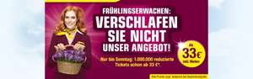 Wieder da: Germanwings-Flug ab 33,- € (inkl. Meilen, begrenzt auf 1 Million Tickets)