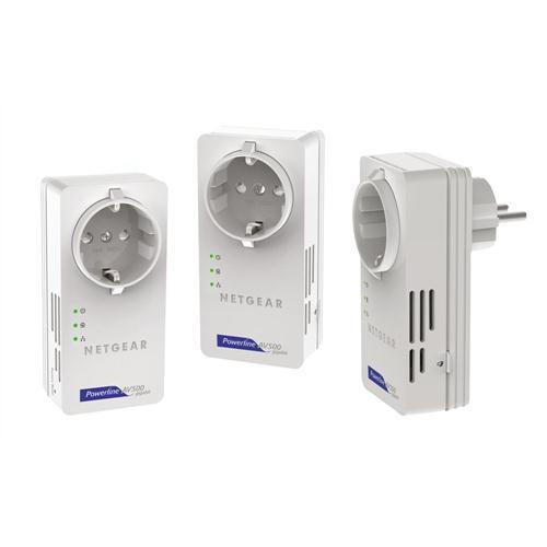 3er Set Powerline 500 Mbit/s mit Steckdose