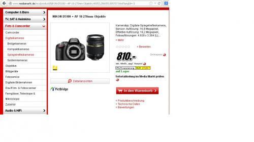Nikon D5100 Digitale Spiegelreflexkamera + 18-270mm Tamron Objektiv @Media Markt