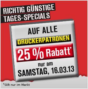 25% auf alle Druckerpatronen im Promarkt am Sa, 16.3.