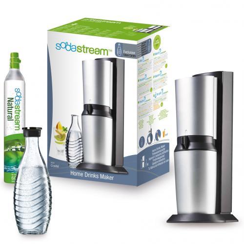 Trinkwassersprudler SodaStream Crystal titan/silber B-Ware inkl. 60L Zylinder und Glaskaraffe