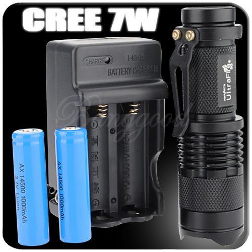 7W 300LM CREE Q5 Taschenlampe inkl. 14500 Akku's und Ladegerät 10,99 Euro!