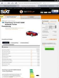 Ford Focus 1,6 Ti-VCT 63kW Ambiente Turnier - Sixt Leasing, ohne Anzahlung, 116,16 € pro Monat