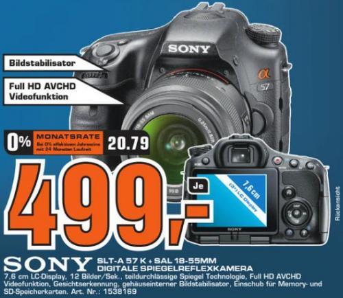 Lokal Saturn Wesel: Sony Alpha 57 + SAL 18 - 55mm für 499€