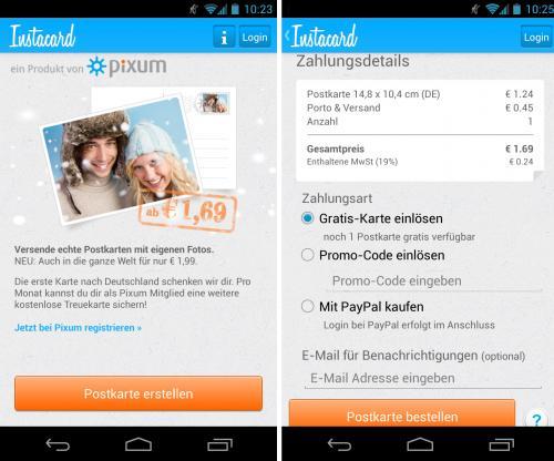 Kostenlose Postkarte verschicken mit Pixum Instacard App
