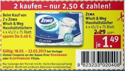 [Rossmann] 2 x Zewa Wisch & Weg Haushaltstücher für 2,50€