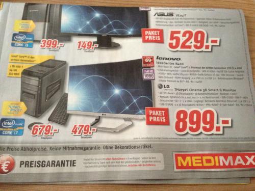 [Offline] LG 27 Zoll IPS-Monitor (3D, DVB-T/CS2-Tuner) & lenovo K430 (i7-3770, 8GB RAM, 64GB SSD,...) @medimax