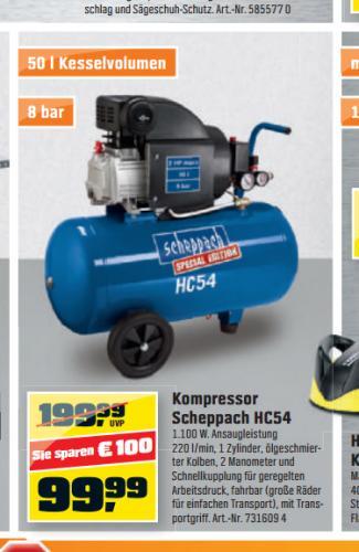 OBI. Kompressor Scheppach HC54 / 50Liter / 2PS / 99 Euro evtl. günstiger durch Preisgarantien der Konkurrenz