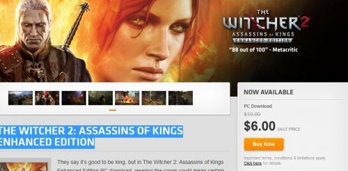 The Witcher 2: Assassins of Kings Enhanced Edition für  4.64 Euro @Origin