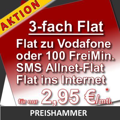 [sim] Internet Flat + 3000 SMS + Vodafone Flat oder 100 Min. für 2,95€ (rechnerisch)