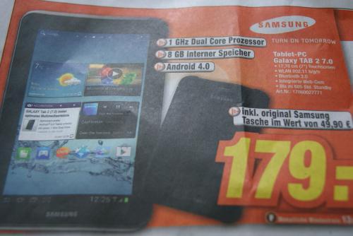 Samsung Galaxy Tab 2 7.0 8GB inkl. Hülle im WERT VON 1,49€