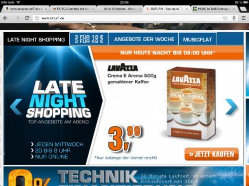 Lavazza Crema e Aroma 500g gemahlen. Für 3,99 €