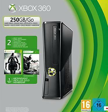 XBOX 360 (250GB) inkl 2 Controller, Headset + Darksiders II + Batman Arkham City + 1 Monat Xbox Live Gold