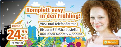 [DSL Anschluss] Easybell VDSL 50 inkl. Festnetzflat 24,95€