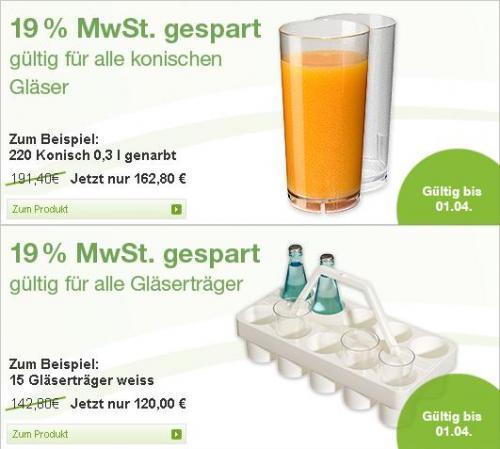 Gläserhalter und unzerbrechliche konische Gläser -19% MwSt. Betrag @ bevando