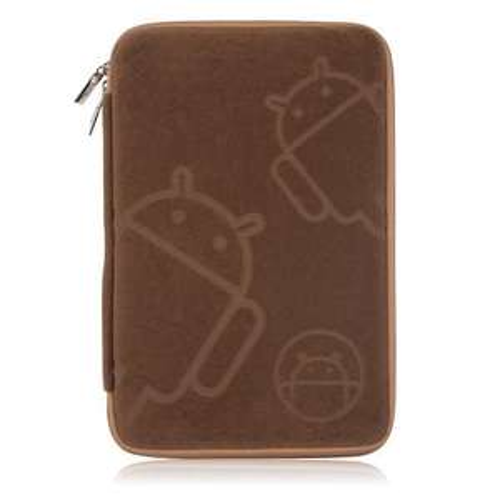 7 Zoll 16:9 Luxuriöse Flannel Zipper Bag Brown für Tablet PC