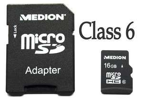 Medion 16GB microSDHC class 6 mit Adapter für 8,88 EUR inkl. Versand