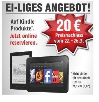 """20€ Rabatt auf jeden Kindle bei MediMax (außer Fire HD 8,9"""") + kostenlosen Powerfast Adapter (für Kindle)"""