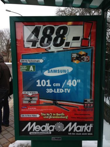 "[Mediamarkt evtl. lokal Berlin/Brandenburg] Samsung UE 40 ES 6300 40"" LED-3D-TV"