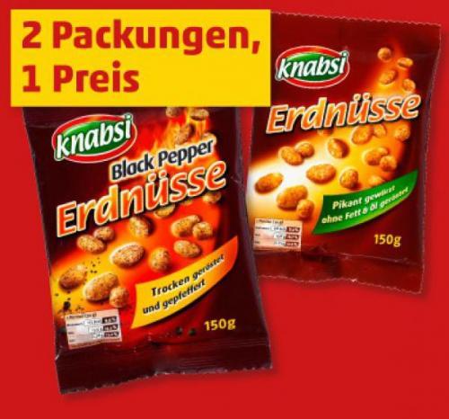 Penny (heute & morgen): 2 Packungen Erdnüsse (pikant oder Black Pepper) mit je 150gr. für zusammen 0,88€ statt 1,18€ -> Ersparnis 25,4%.