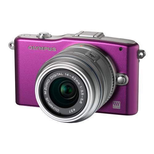 Olympus PEN E-PM1 violett mit Objektiv M.Zuiko digital 14-42mm II