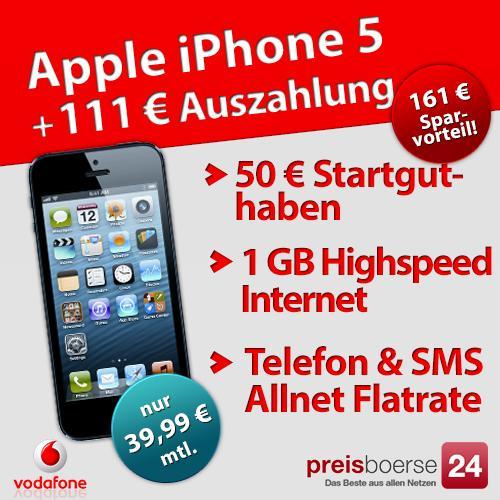 Apple iPhone 5 + Vodafone RED M (bis 30 Jahre) für 800 Euro