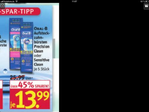 (Rossmann offline) oral b aufsteckbürsten, 5 stück für 13,99€