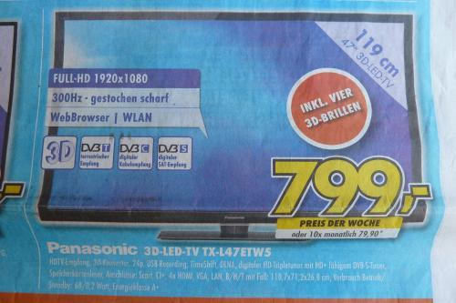 euronics (lokal Zittau?) 3D-LED TV Panasonic TX-L47ETN53 (wie TX-L47ETW5)