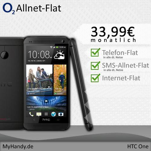 HTC One 32 GB - mit o2 Blue All-in M  (Allnet Flat) Vertrag inkl. Beats-In-Ear-Kopfhörer