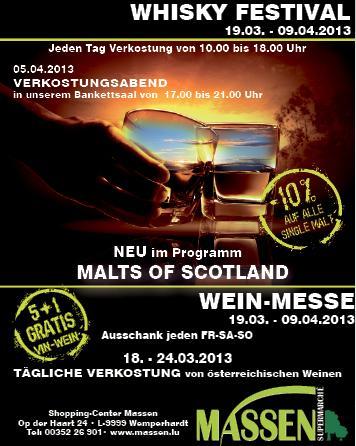 [OFFLINE Luxemburg] 10% auf alle Single Malt Whiskys im Shopping Center Massen zB Aberlour Double Cask 16y 43% für 33,26€